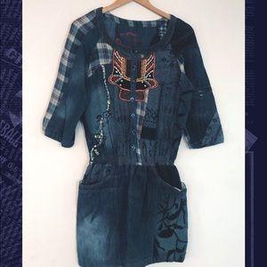 Desigual 💜 Denim Dress with Details